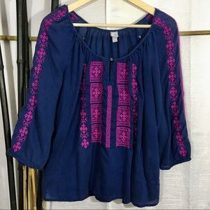 BOHO Embroidered Peasant Top